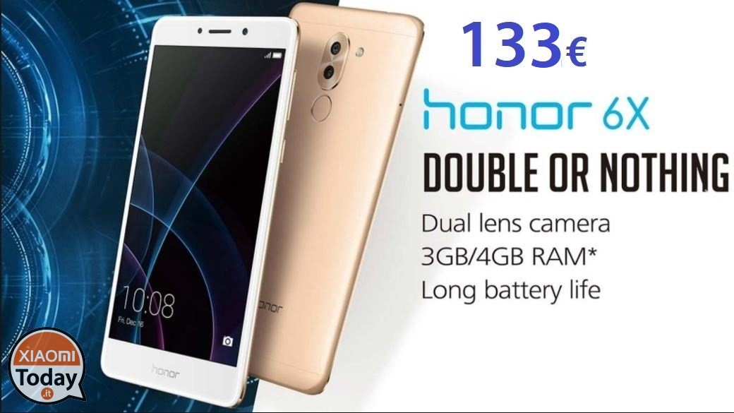 Offerta - Huawei Honor 6X 3/32Gb Silver a 133€ Italy express