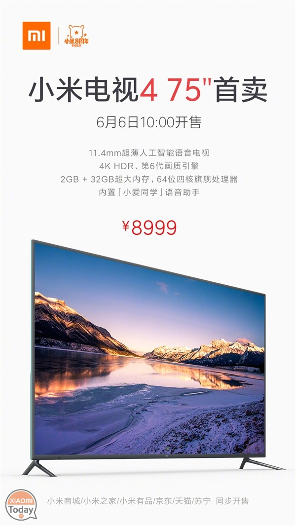 Sales start for the Xiaomi Mi TV 4 from 75 in