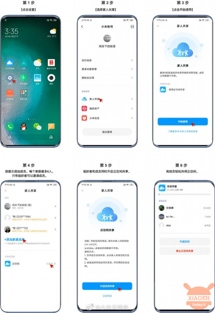 mi cloud service family sharing space