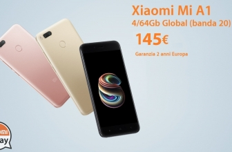Discount Code - Mi A1 Gold 4 / 64Gb to 145 € and 4 / 32Gb Black to 136 € 2 guarantee years Europe with Italy Express shipping included!
