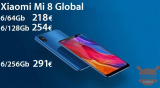 Offer - Xiaomi Mi8 Global 6 / 64Gb to 218 €, 6 / 128Gb to 254 € and 6 / 256Gb Global (unlocked bootloader) to 291 € from EU warehouse