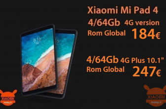 Discount Code - Xiaomi Mi Pad 4 global rom 4 / 64Gb 4G LTE at 184 € and Mi Pad 4 Plus 10.1 ″ global rom at 247 €