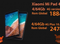 "Code de réduction - Xiaomi Mi Pad 4 global rom 4 / 64Gb 4G LTE à 175 € et Mi Pad 4 Plus 10.1 ""rom globale à 228 €"