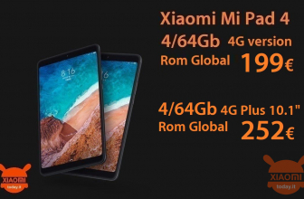 Kode Diskon - Xiaomi Mi Pad 4 global rom 4 / 64Gb 4G LTE di 199 € dan Mi Pad 4 Plus 10.1 ″ rom global di 252 €