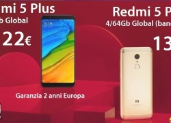 Discount Code - Xiaomi Redmi 5 Plus 4 / 64Gb Global (20 band) to 139 € and 3 / 32Gb to 122 € 2 guarantee years Europe shipping Italy Express Included!
