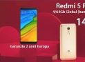 Discount Code - Xiaomi Redmi 5 Plus 4 / 64Gb Global (20 band) to 147 € guarantee 2 years Europe shipping Italy Express Included!