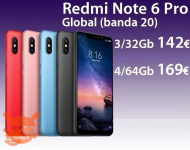 Offer - Redmi Notes 6 Pro Global 4 / 64Gb to 169 € and 3 / 32Gb to 142 € 2 guarantee years Europe and Italy Express FREE